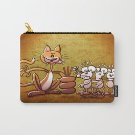 Cat Choosing a Mouse by Drawing the Short Straw Carry-All Pouch