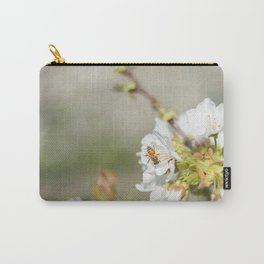 Bee laid on white flowers of a cherry tree Carry-All Pouch