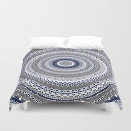 Navy Blue Grey Bohemian Mandala Duvet Cover