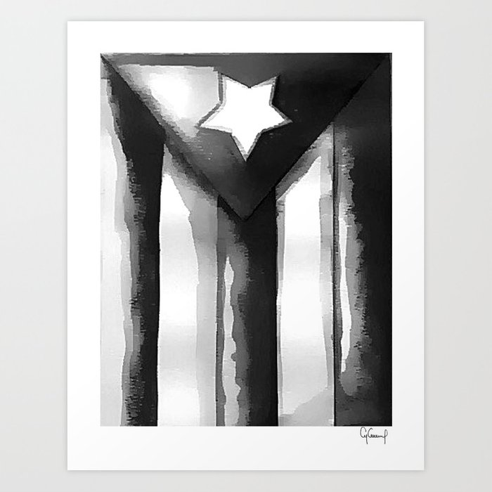 7b69859135044 BLACK & WHITE PUERTO RICO FLAG - ART DONATION Art Print by ...