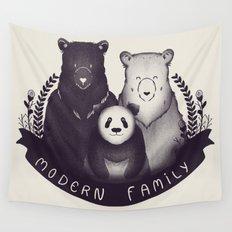 Modern Bear Family Wall Tapestry