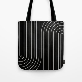 Minimal Line Curvature - Black and White II Tote Bag