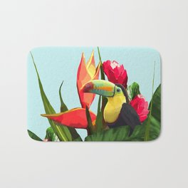 Toucan Tropical Banana Leaves Bouquet Bath Mat