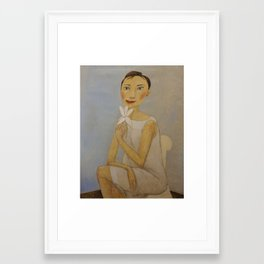 LADY WITH MAGNOLIA Framed Art Print