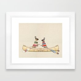 Hare Couple Canoe Framed Art Print
