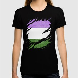 Genderqueer Pride Flag Ripped Reveal T-shirt