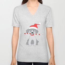 new year puppy with stick Unisex V-Neck