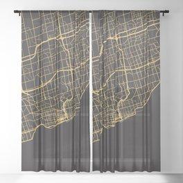 TORONTO CANADA GOLD ON BLACK CITY MAP Sheer Curtain