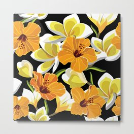 Beautiful pattern with tropical flowers, hibiscus and frangipani. Metal Print