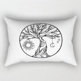 black and white tree of life with hanging sun, moon and stars I Rectangular Pillow
