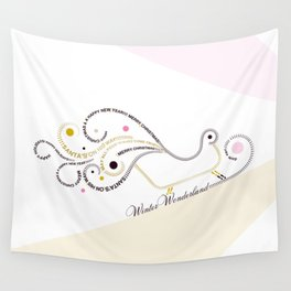 Typographic Christmas Sleigh Wall Tapestry