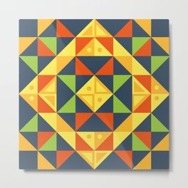 background geometric color plaid Metal Print