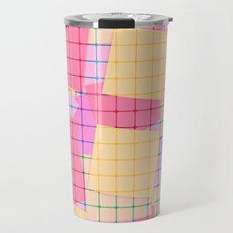 Yellow pink plaid Travel Mug
