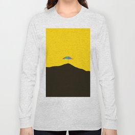Colorful Umbrella On A Black Mountain In A Yellow Background - #society6 #buyart Long Sleeve T-shirt