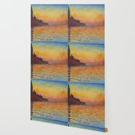 San Giorgio Maggiore at Dusk Painting by Claude Monet Wallpaper
