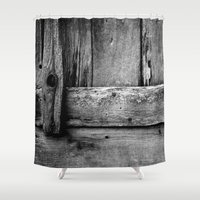 wooden Shower Curtains featuring wooden by Bonnie Jakobsen-Martin