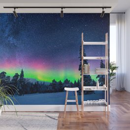 Aurora Borealis Over Wintry Mountains Wall Mural