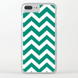 Generic viridian - green color - Zigzag Chevron Pattern Clear iPhone Case