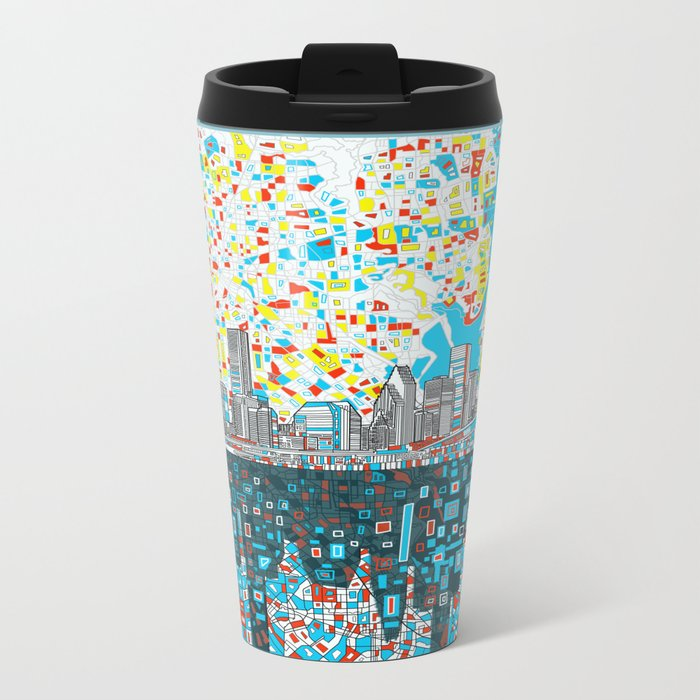 houston city skyline Metal Travel Mug