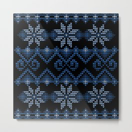 Blue Ugly Christmas Sweater Metal Print