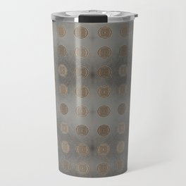 Lace Coin Polka Dots Pattern with Silver Leaf Background Travel Mug