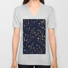 Hand drawn gold cute dried pressed flowers illustration navy blue Unisex V-Neck