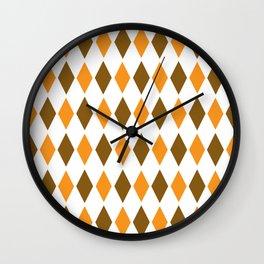 Diamond orange brown pattern Wall Clock