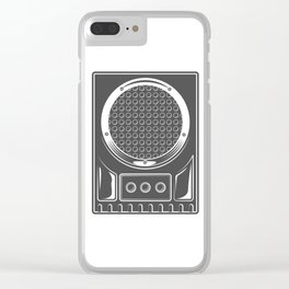 Vintage music concert audio loudspeaker in monochrome style illustration Clear iPhone Case