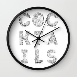 Cocktails Tag Cloud Wall Clock