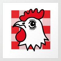 Chicken Shop Gingham  Art Print
