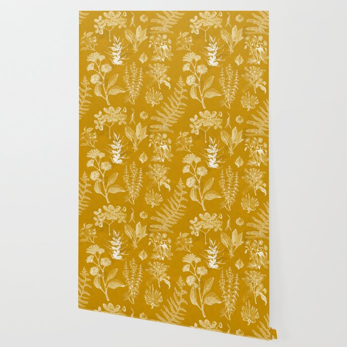 Yellow Mustard Vintage Floral Wallpaper