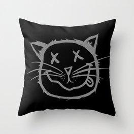 cat cartoon face Throw Pillow