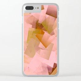 Geometric Stacks Pink Blush Clear iPhone Case