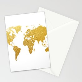 World Map Gold Foil Stationery Cards