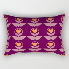 Love Flowers - Happy 70s Pattern Rectangular Pillow