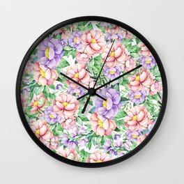 Hand painted lavender coral green watercolor floral Wall Clock