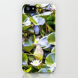 Small pond with floating plants iPhone Case