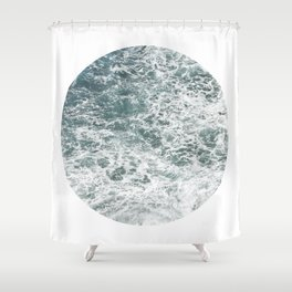 Frothy Blue Ocean Sea Waves Pacific Water Pinhole Circle Geometric Photography Art Mural Northwest Shower Curtain