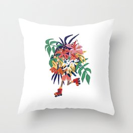 Floral Roller Babe Throw Pillow