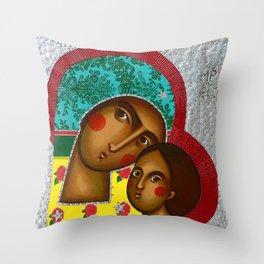 modern folk icon - Folk Madonna 1 Throw Pillow