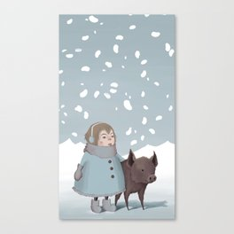 Pig in snow Canvas Print