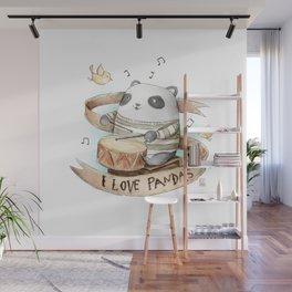 I Love Pandas Wall Mural