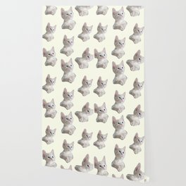 cute girly chic beige white cat pattern Wallpaper