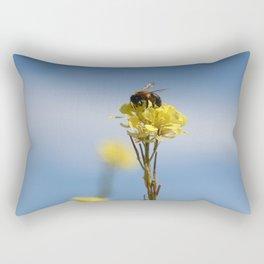 Honey bee on a wildflower Rectangular Pillow