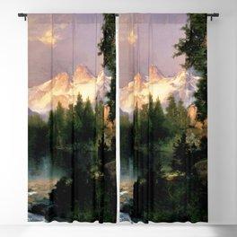 The Three Tetons, Grand Teton Mountains, Jackson Hole, Wyoming by Thomas Moran Blackout Curtain