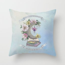Freedom, Books, Flowers and The Moon Throw Pillow