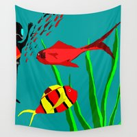diver Wall Tapestries featuring Scuba Diver by Happy Fish Gallery