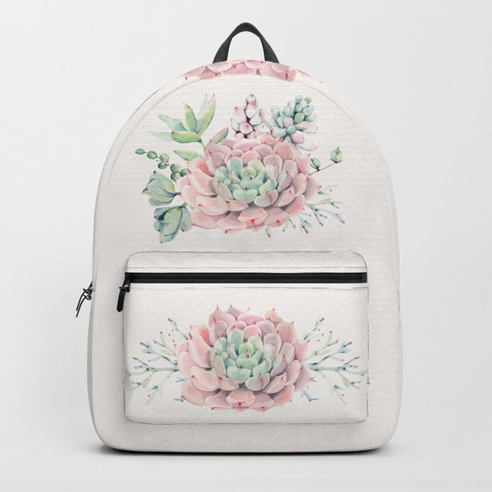 Pink Succulents on Cream Backpack