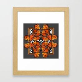 Monarch Butterflies Migration in orange & Grey Pattern Art Framed Art Print
