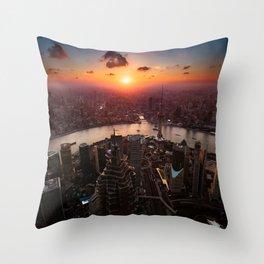 Shanghai Sunset Throw Pillow